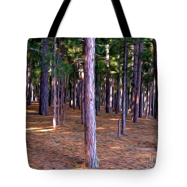 Abstract Pine Tree Forest Tote Bag by Phil Perkins
