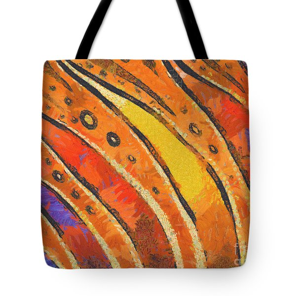 Abstract Rainbow Tiger Stripes Tote Bag by Pixel Chimp