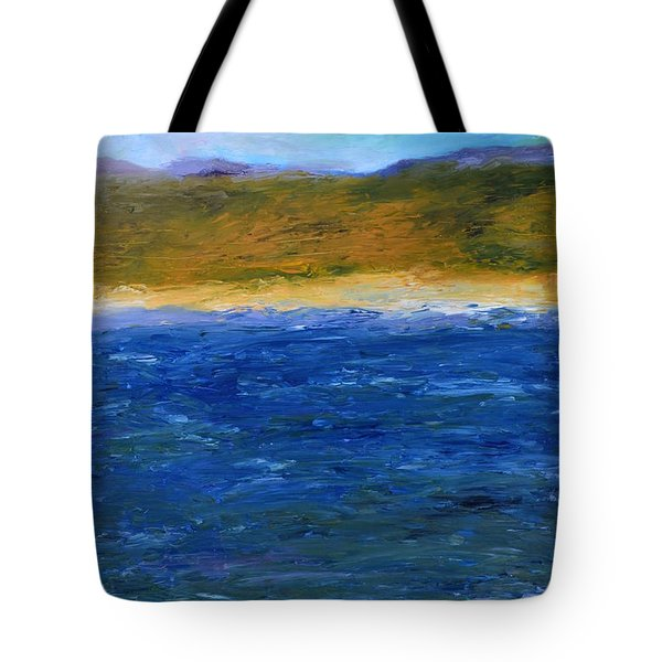 Abstract Shoreline Tote Bag by Michelle Calkins
