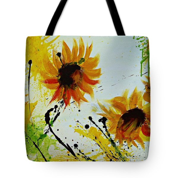 Abstract Sunflowers 2 Tote Bag by Ismeta Gruenwald