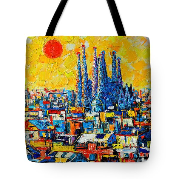ABSTRACT SUNSET OVER SAGRADA FAMILIA IN BARCELONA Tote Bag by ANA MARIA EDULESCU