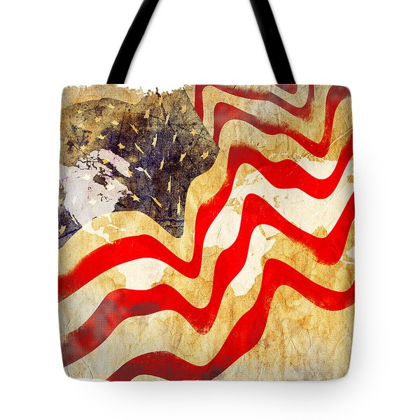 Abstract Usa Flag Tote Bag by Stefano Senise