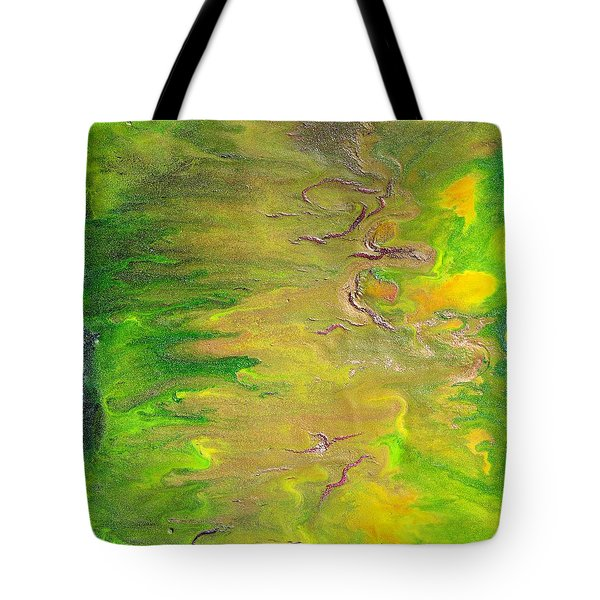 Acid Green Abstract Tote Bag by Julia Apostolova