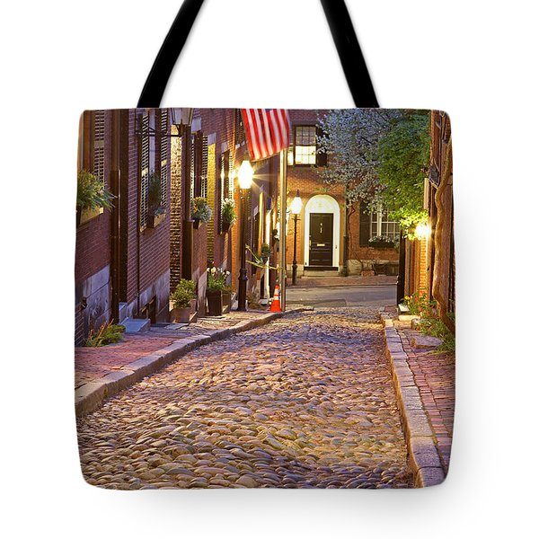 Acorn Street Of Beacon Hill Tote Bag by Juergen Roth