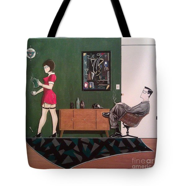 Ad Man Sitting In Chair Steadily Watching Coffee Girl Tote Bag by John Lyes