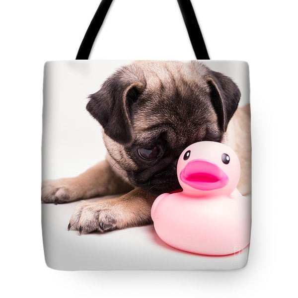 Adorable Pug Puppy With Pink Rubber Ducky Tote Bag by Edward Fielding