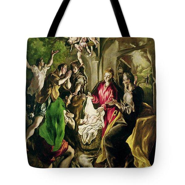 Adoration Of The Shepherds Tote Bag by El Greco Domenico Theotocopuli