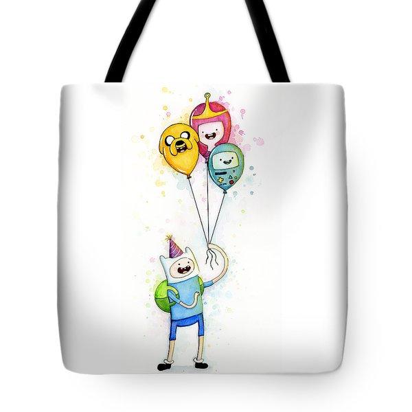 Adventure Time Finn With Birthday Balloons Jake Princess Bubblegum Bmo Tote Bag by Olga Shvartsur