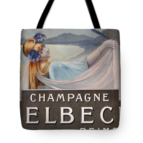 Advertisement For Champagne Delbeck Tote Bag by Louis Chalon