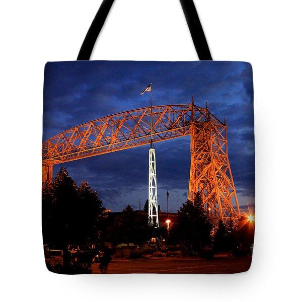 Aerial Lift Bridge Tote Bag by Lori Tordsen