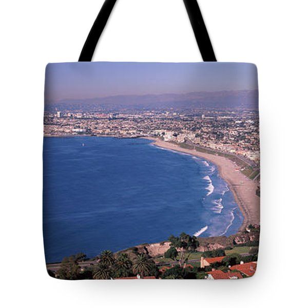 Aerial View Of A City At Coast, Santa Tote Bag by Panoramic Images