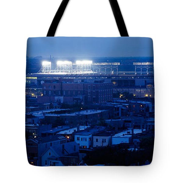 Aerial View Of A City, Wrigley Field Tote Bag by Panoramic Images