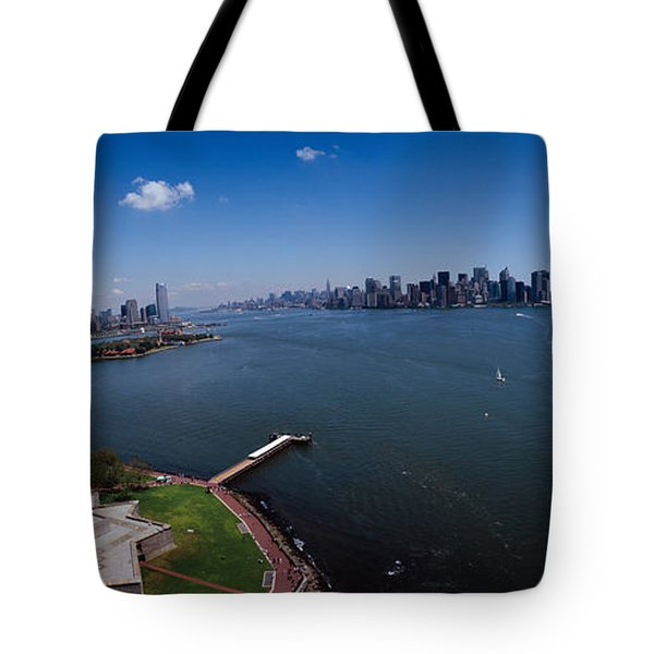 Aerial View Of A Statue, Statue Tote Bag by Panoramic Images