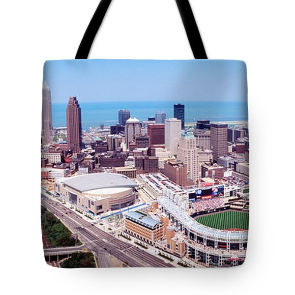 Aerial View Of Jacobs Field, Cleveland Tote Bag by Panoramic Images