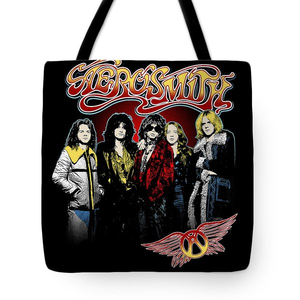 Aerosmith - 1970s Bad Boys Tote Bag by Epic Rights