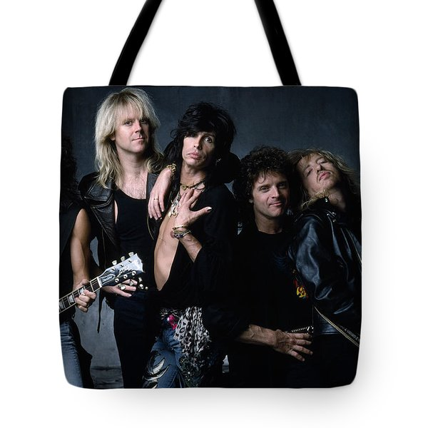 Aerosmith - Let The Music Do The Talking 1980s Tote Bag by Epic Rights
