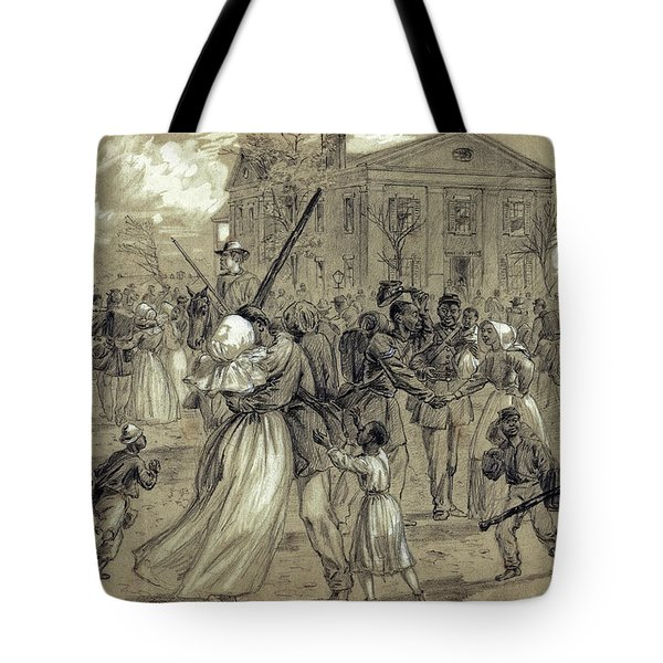 AFRICAN AMERICAN SOLDIERS return HOME from WAR - 1866 Tote Bag by Daniel Hagerman