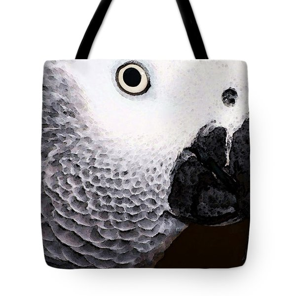 African Gray Parrot Art - Seeing Is Believing Tote Bag by Sharon Cummings