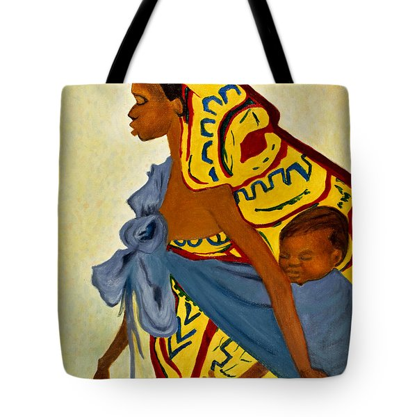 African Mother and Child Tote Bag by Sher Nasser
