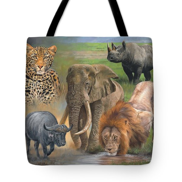 Africa's Big Five Tote Bag by David Stribbling