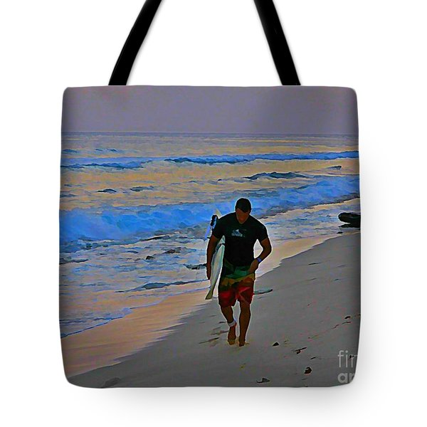 After A Long Day Of Surfing Tote Bag by John Malone