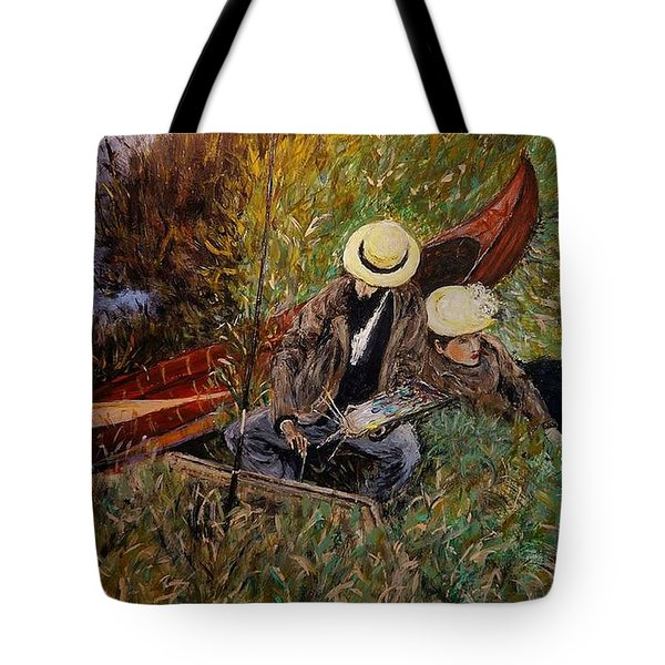 After John Singer Sargent- Paul Cesar Helleu Sketching With His Wife 1889 Tote Bag by Cristina Mihailescu