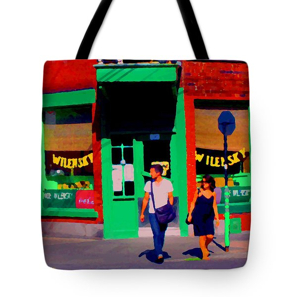 After Lunch At Wilenskys Restaurant Crossing Fairmount Montreal Street Scene Art Carole Spandau Tote Bag by Carole Spandau