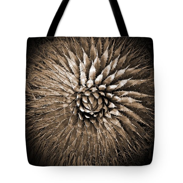 Agave Spikes Sepia Tote Bag by Alan Socolik