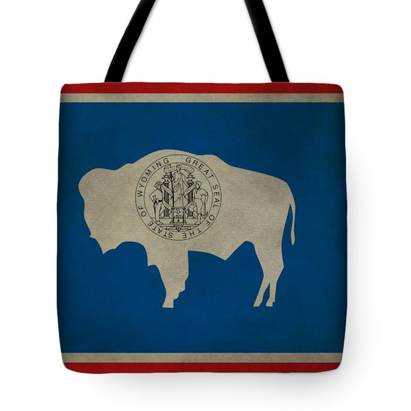 Aged Wyoming State Flag Tote Bag by Dan Sproul