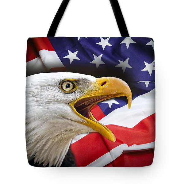 AGGRESSIVE EAGLE and UNITED STATES FLAG Tote Bag by Daniel Hagerman