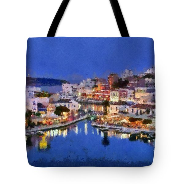Painting Of Agios Nikolaos City Tote Bag by George Atsametakis