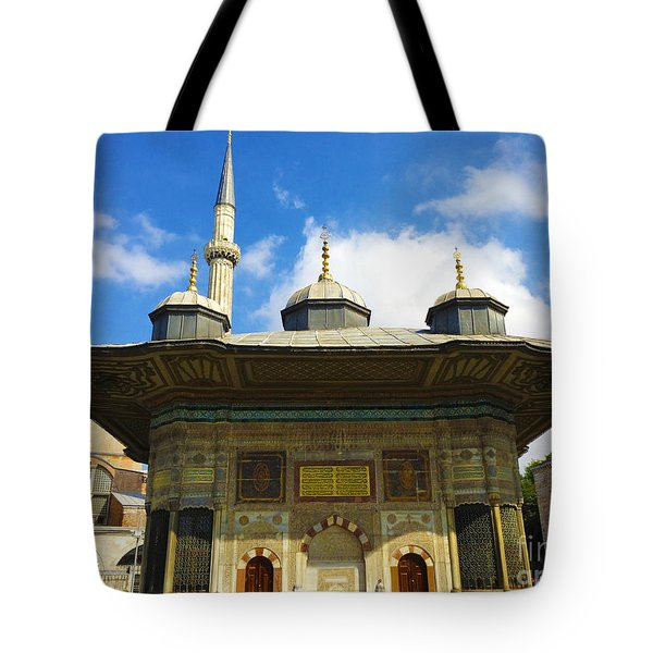 Ahmet II Fountain Next To Topkapi Palace Main Entry With A Minaret Of Hagia Sophia Palace Istanbul  Tote Bag by Ralph A  Ledergerber-Photography