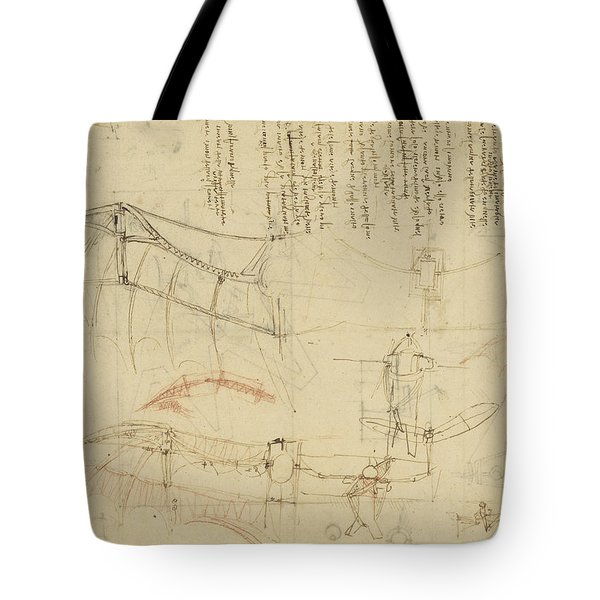 Aircraft The Machine Has Been Reduced To The Simplest Shape Tote Bag by Leonardo Da Vinci