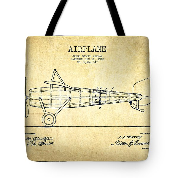 Airplane Patent Drawing From 1918 - Vintage Tote Bag by Aged Pixel