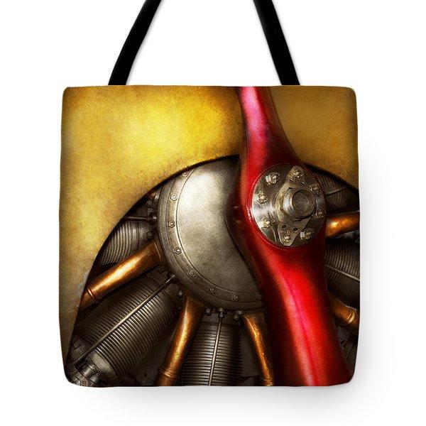 Airplane - Prop - Fine Lines Tote Bag by Mike Savad