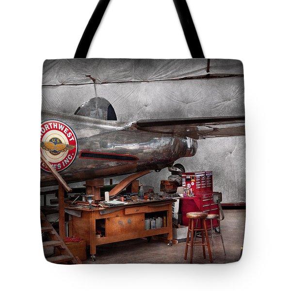 Airplane - The Repair Hanger Tote Bag by Mike Savad