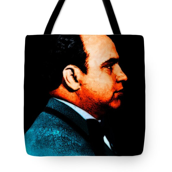 Al Capone c28169 - Black - Painterly - Text Tote Bag by Wingsdomain Art and Photography