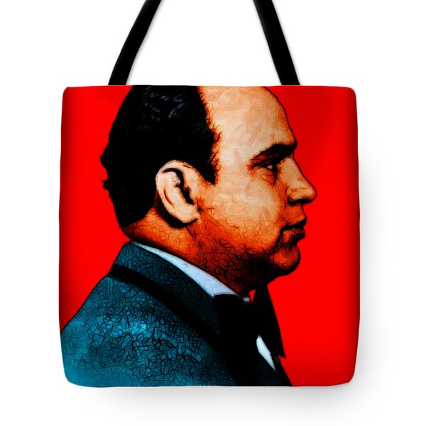Al Capone C28169 - Red - Painterly - Text Tote Bag by Wingsdomain Art and Photography