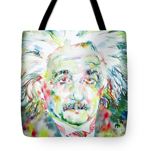 Albert Einstein Watercolor Portrait.1 Tote Bag by Fabrizio Cassetta