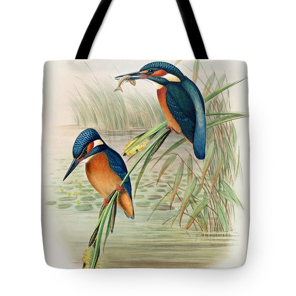 Alcedo Ispida Plate From The Birds Of Great Britain By John Gould Tote Bag by John Gould William Hart