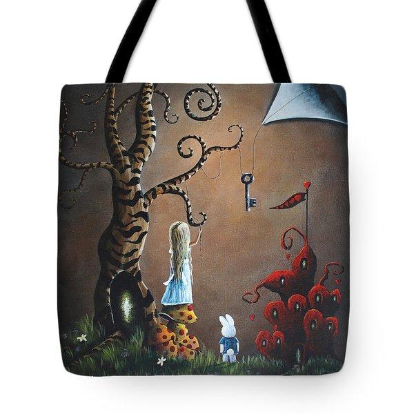 Alice In Wonderland Original Artwork - Key To Wonderland Tote Bag by Shawna Erback