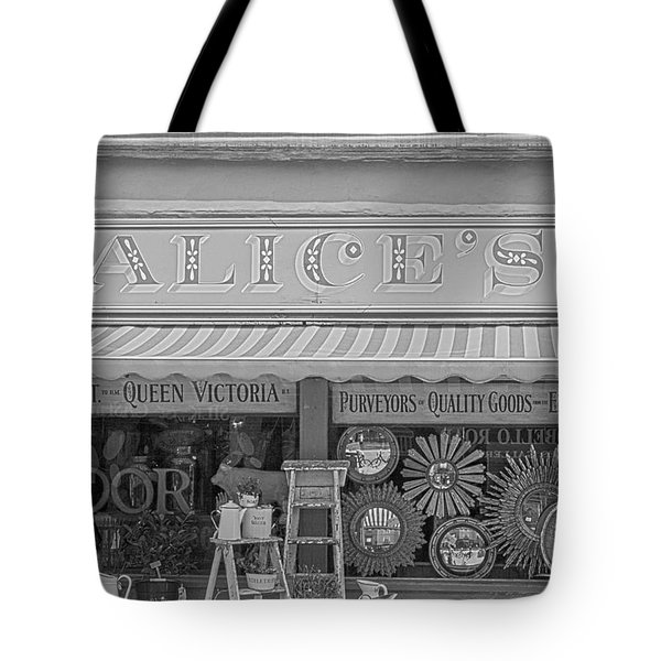 Alice's Antiques In Black And White Tote Bag by Nomad Art And  Design
