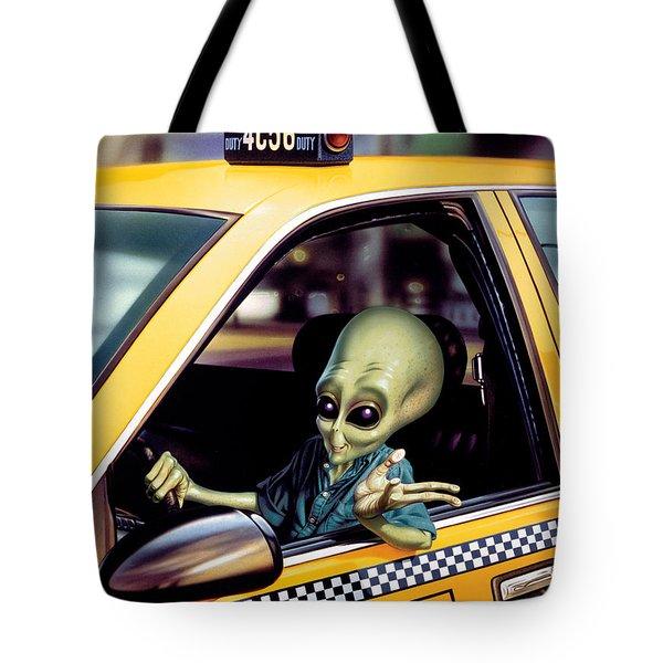 Alien Cab Tote Bag by Steve Read