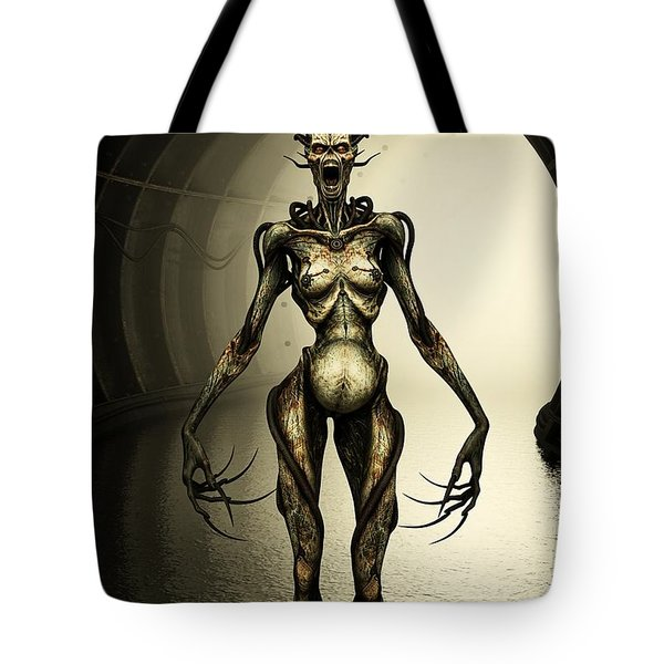 Alien Cyborg Tote Bag by Liam Liberty