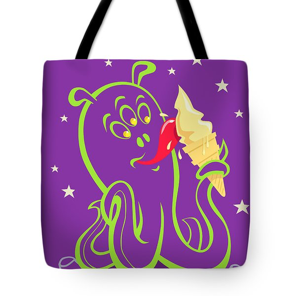 alien ice cream -vector version Tote Bag by Martin Davey