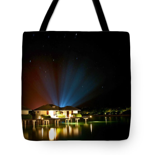 Alien Light at the Tropical Resort Tote Bag by Jenny Rainbow