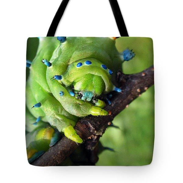 Alien Nature Cecropia Caterpillar Tote Bag by Christina Rollo