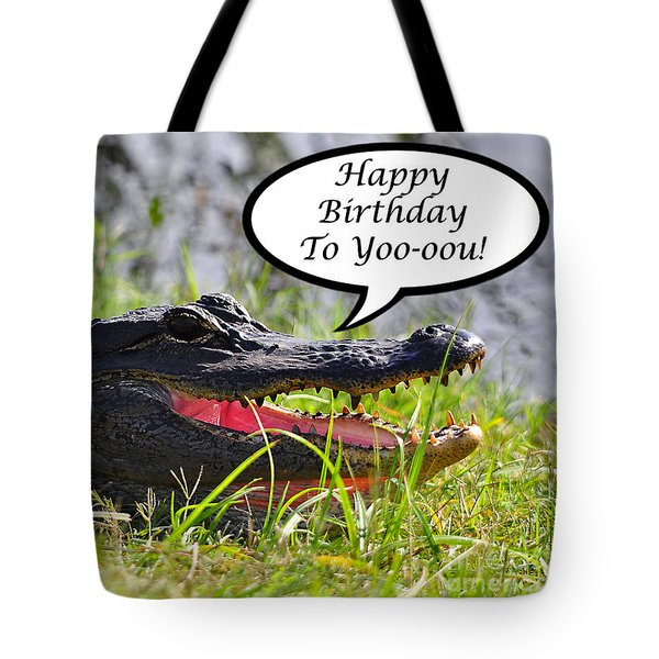 Alligator Birthday Card Tote Bag by Al Powell Photography USA