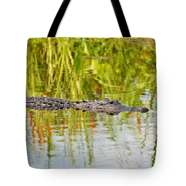 Alligator Reflection Tote Bag by Al Powell Photography USA