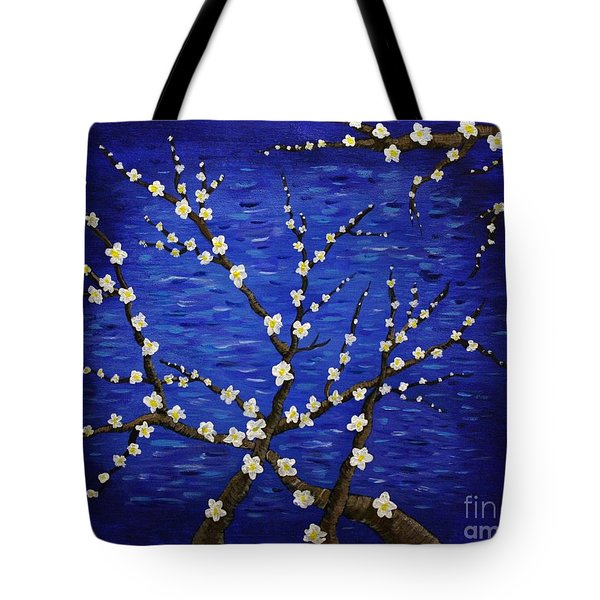 Almond Branches In Bloom Tote Bag by Vicki Maheu